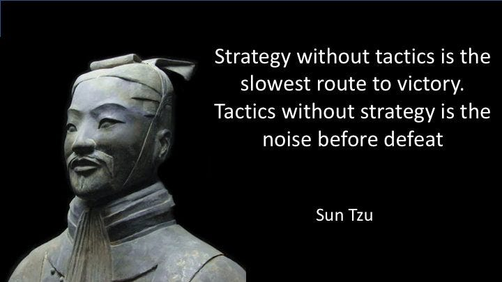 Sun Tzu: Strategy without tactics is the slowest route to victory. Tactics without strategy is the noise before defeat. -