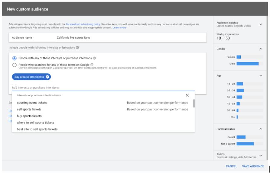 Screenshot of Google Ads UI showing new custom audience creation