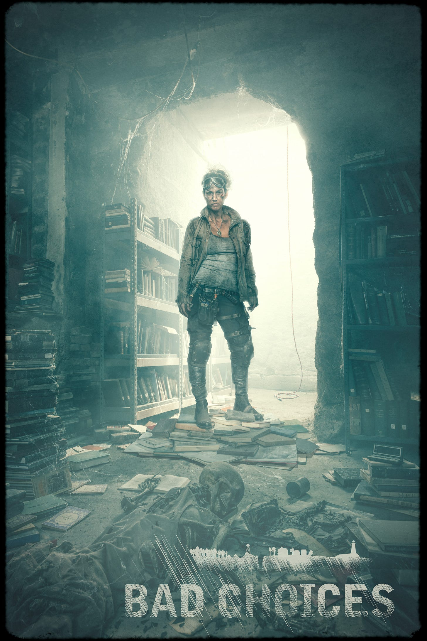 Turner is one of the characters featured in the Bad Choices Project. She has fallen into a hidden library bunker filled with old books and a skeleton.