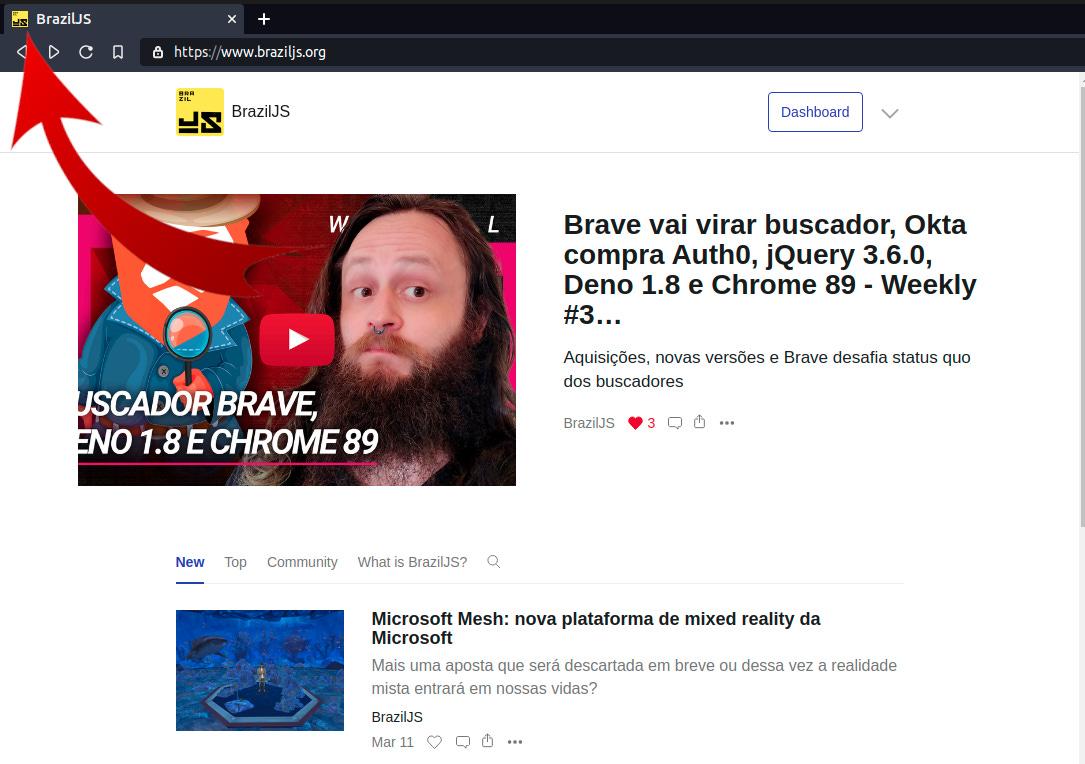 Screenshot do site da BrazilJS apontando onde está o favicon