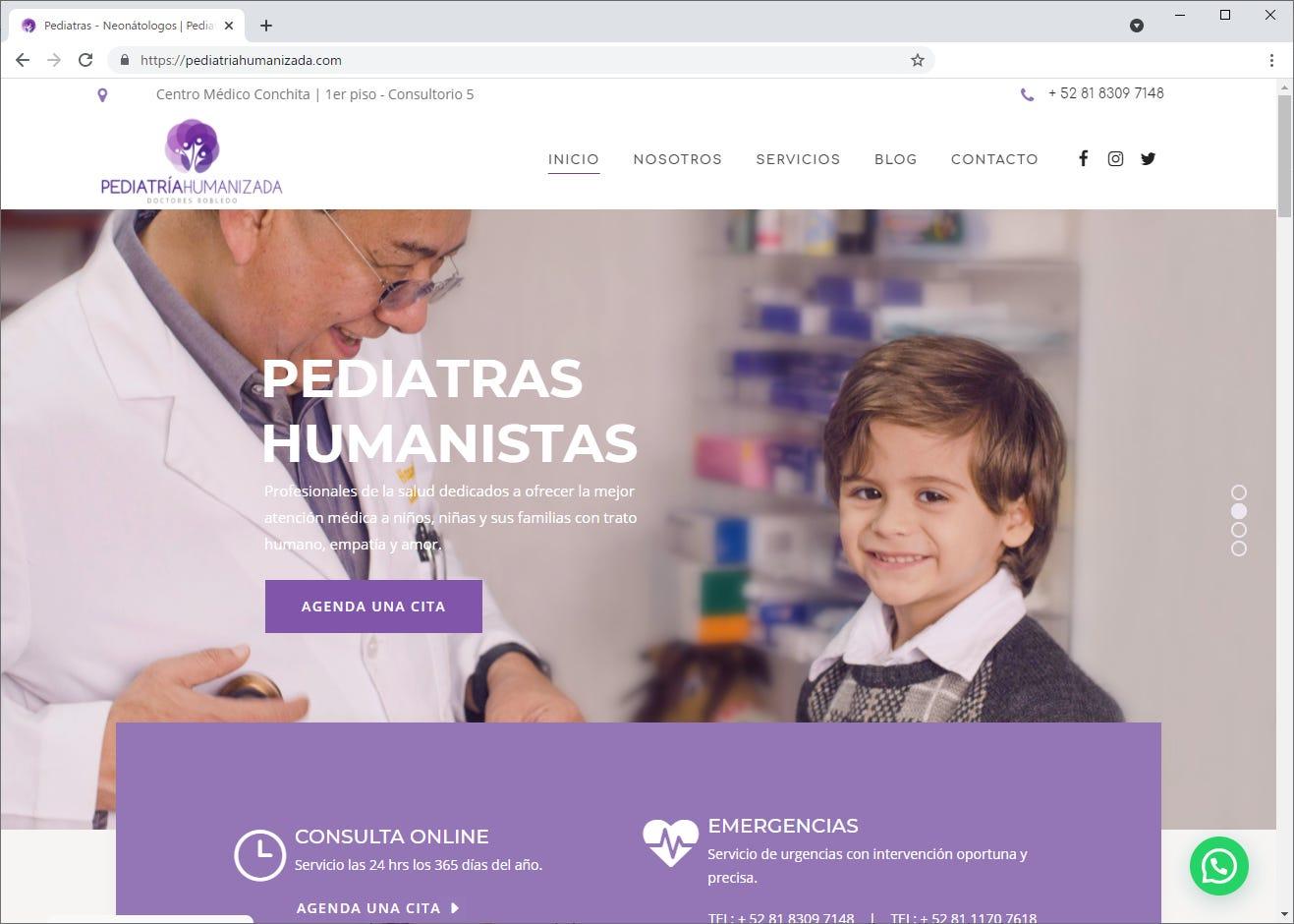 Captura de pantalla de página web de Pediatría Humanizada
