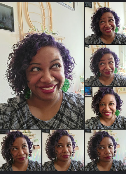 Collage of selfies of Patricia, all taken within the same five minutes. There is a large photo on the left which has borders of smaller photos on the right and below.