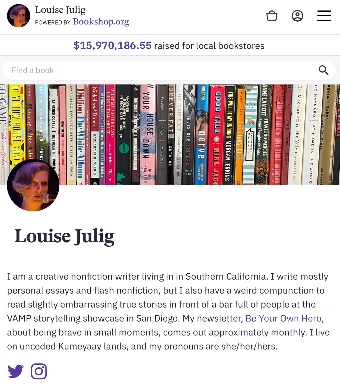 Screen shot of the Bookshop.org site with Louise Julig's storefront. the banner image is a shelf full of memoirs. The shop icon is a circle with a close-up of Louise, a middle-aged woman with an asymmetrical blonde haircut, in front of a microphone