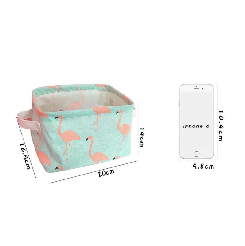 Desktop Cleaning And Receiving Box Sundries Basket Flamingo Cloth Art Receiving Basket Toy Basket Bedroom Office Storage Box