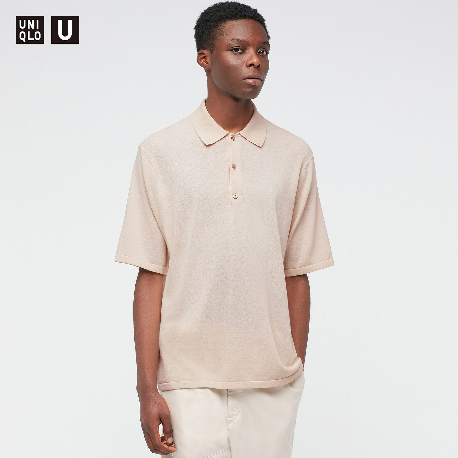 Fine-Gauge Knitted Short-Sleeve Knitted Polo Shirt