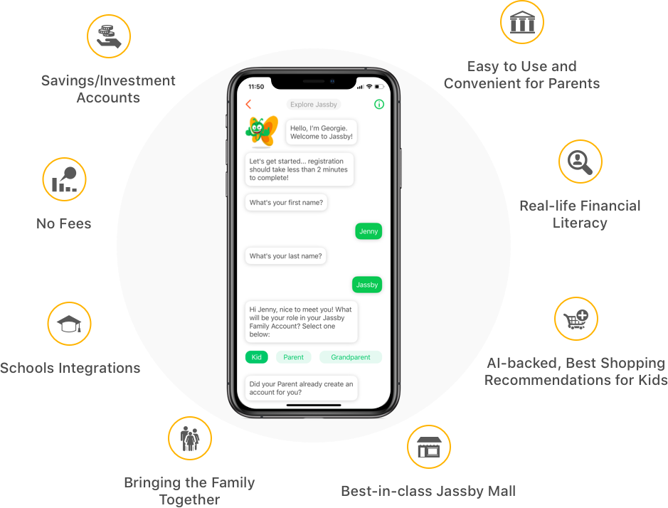 some of the benefits of using jassby are savings/investment accounts, no fees, schools integrations, jassby mall, ai-backed best shopping recommendations for kids, real-life financial literacy and easy to use and convenient for parents