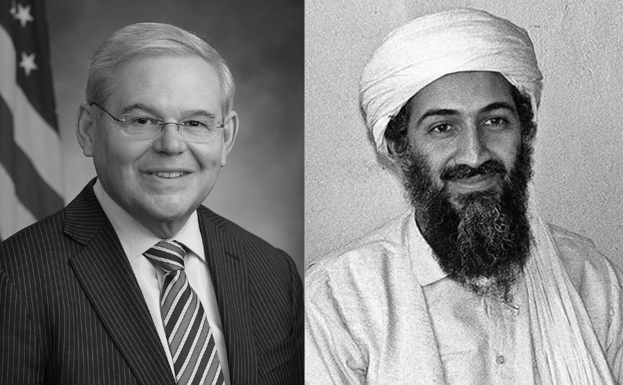 Side-by-side photos of Senator Menendez sitting in front of a flag, and a turban-clad Osama bin Laden; both smile