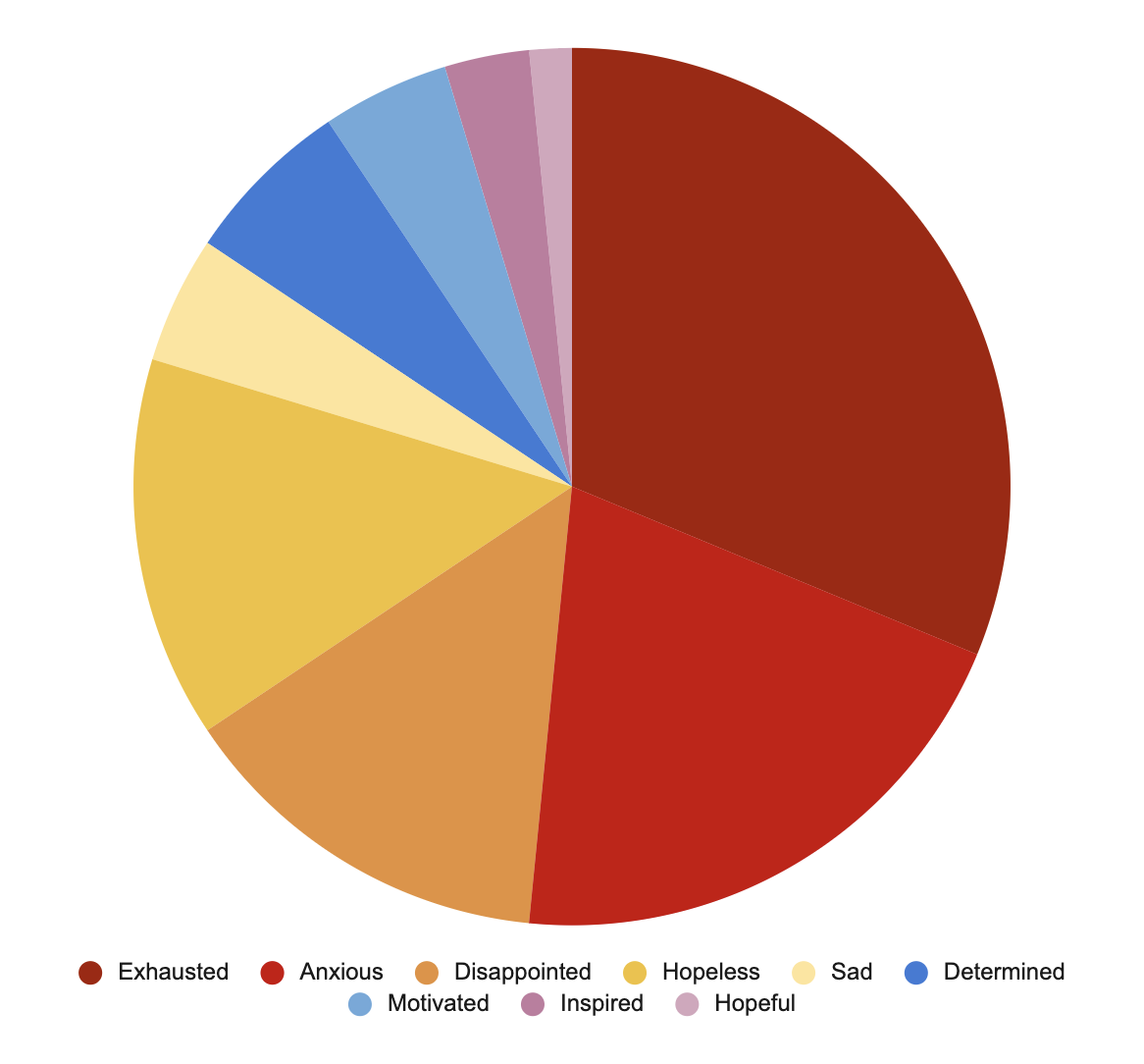 Pie chart shows feelings, in order to frequency (high to low): Exhausted, Anxious, Disappointed, Hopeless, Sad, Determined, Motivated, Inspired, Hopeful