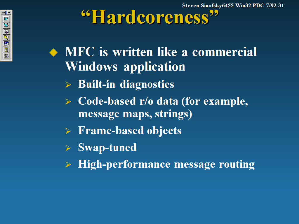 """Slide with title """"Hardcoreness"""" and MFC is written like a commercial Windows application."""
