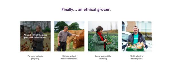 2.000'den fazla ürün satışı yapan Farmdrop'a yapılan ödemelerin en az %70'i üreticiye gidiyor.