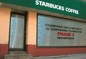 The front of a temporarily closed Starbucks in Canton, OH.