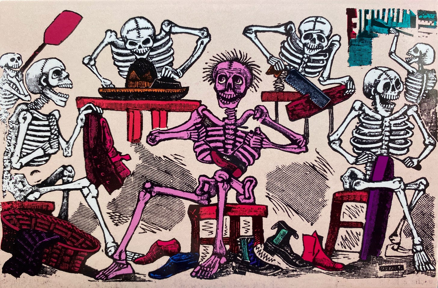 A group of naked skeletons crafting shoes, hats and other forms of clothing in their shop.