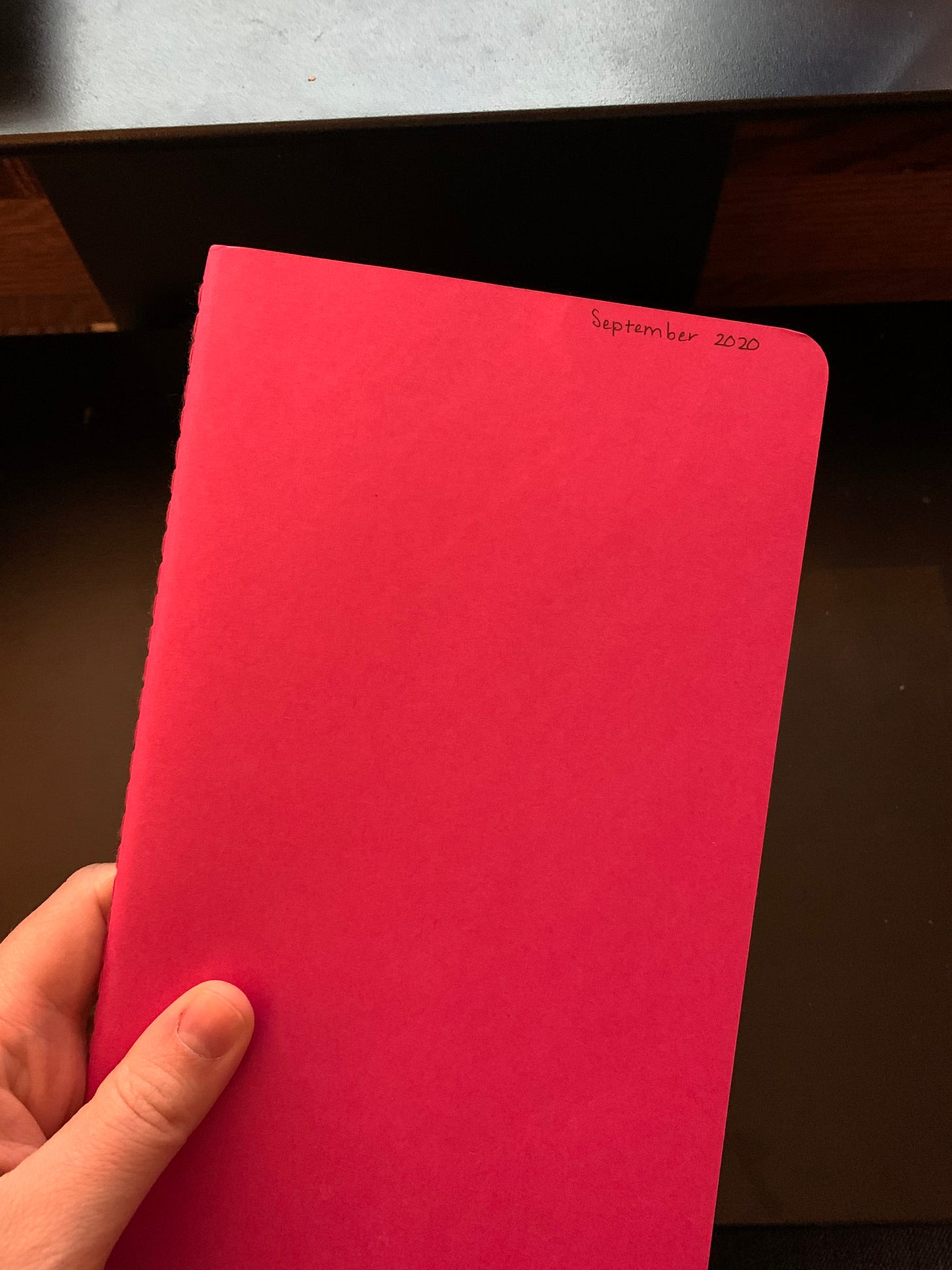 Photo of a pink notebook