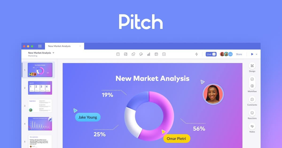Image of the Pitch user interface