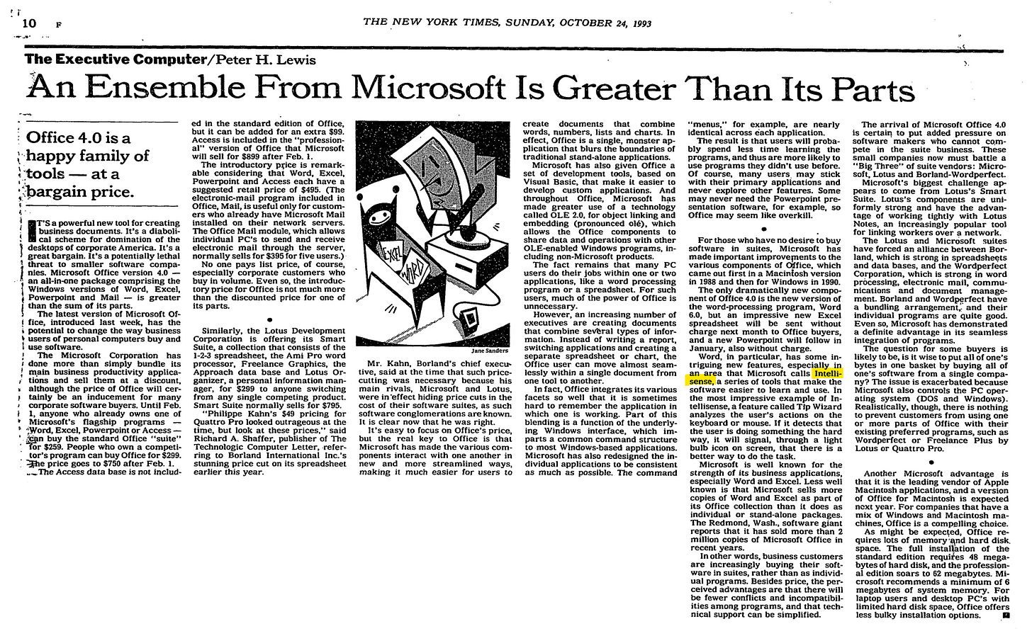 "NY Times October 1993 ""An Ensemble from Microsoft Is Greater Than Its Parts"" - a review of sorts on Office 4.0 that mentions IntelliSense."