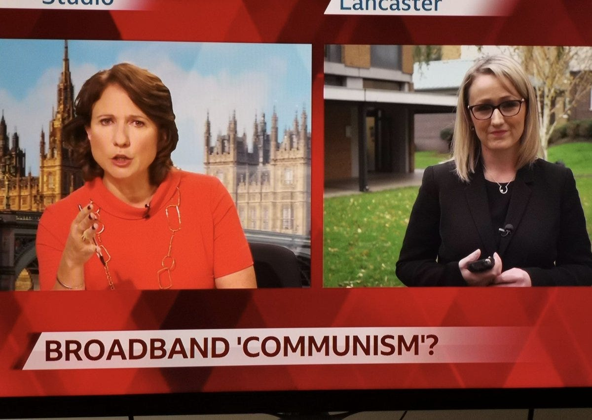 """Rob Burley on Twitter: """"Here Aaron goes again pretending he doesn't  understand what quote marks are. We quoted Neil McRae who called Labour  plans """"broadband communism"""" in the interview with RLB. She"""