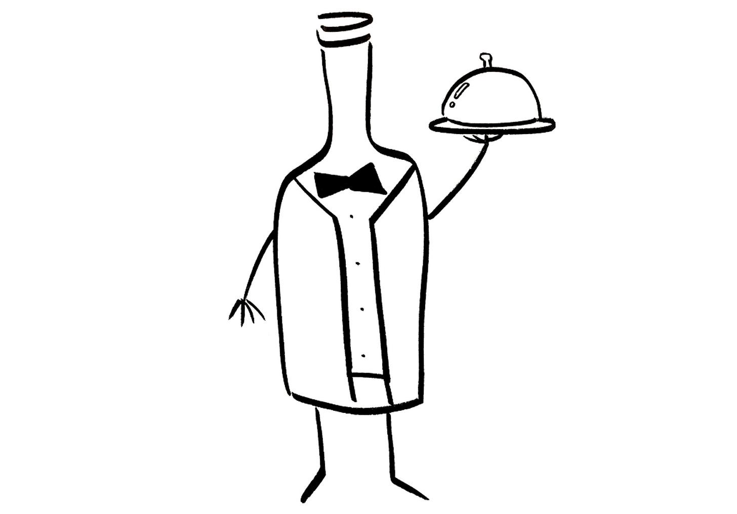 An anthropomorphic wine bottle dressed as a restaurant server
