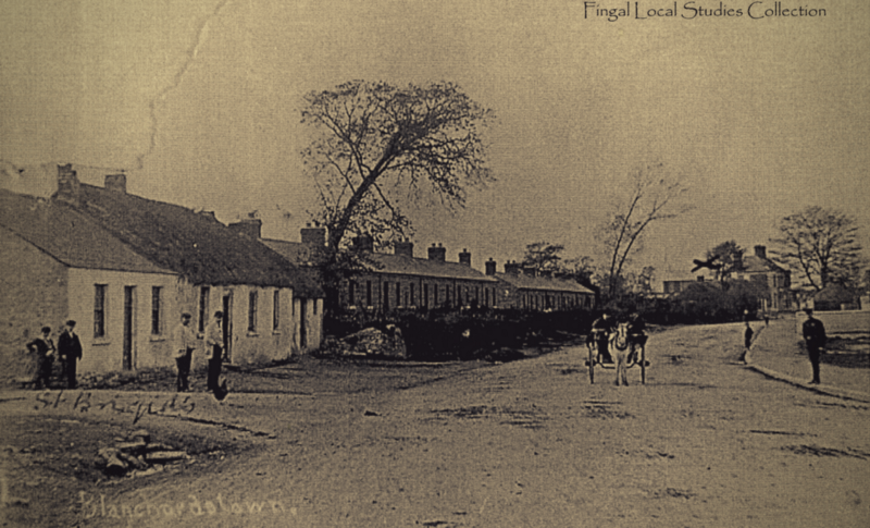 Image of Blanchardstown Village with a horse drawn carriage in 1890s
