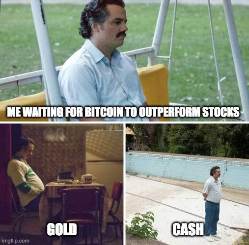 Sad Pablo Escobar Meme |  ME WAITING FOR BITCOIN TO OUTPERFORM STOCKS; GOLD; CASH | image tagged in memes,sad pablo escobar | made w/ Imgflip meme maker