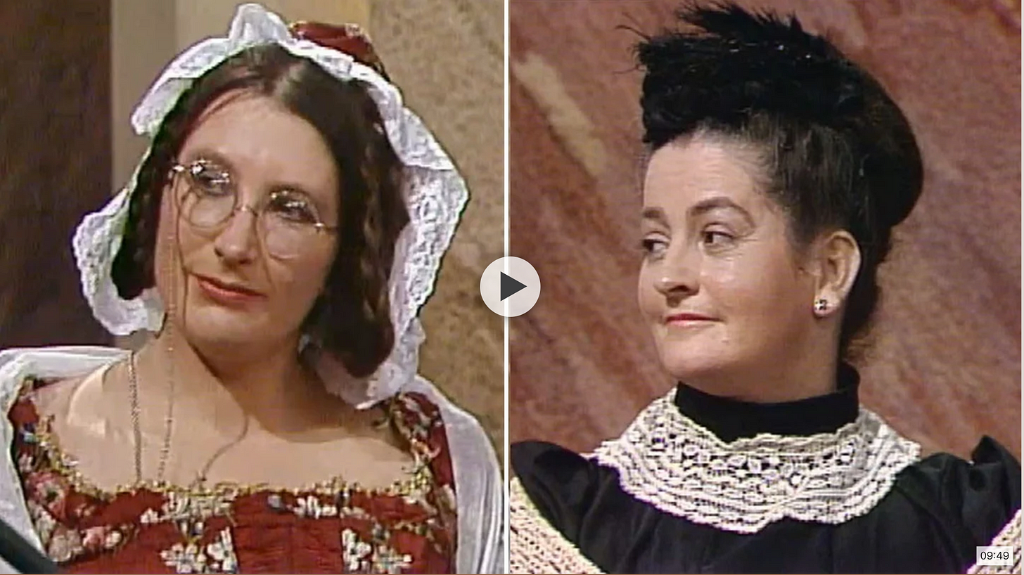 Still from an Irish television program showing two women in Victorian clothing.