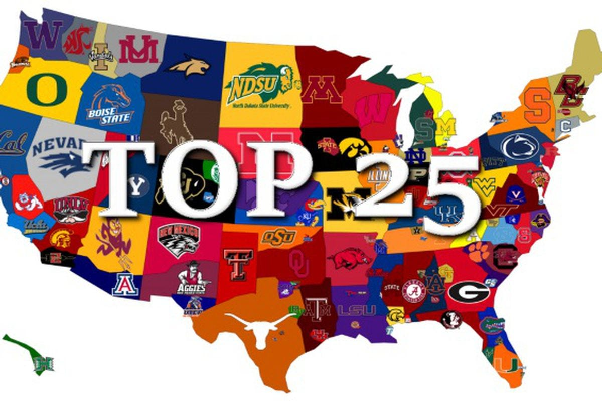 College Football Top 25 AP Poll, Coaches Poll and Power Rankings - A Sea Of  Blue