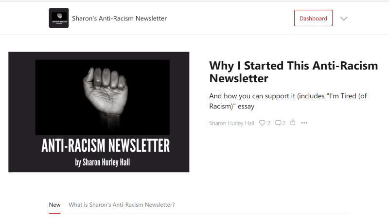 Sharon's Anti-Racism Newsletter home page