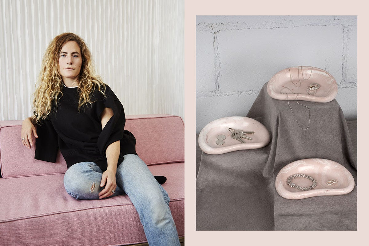 Furniture designer Mary Ratcliffe and the Catch All from her new small objects collection