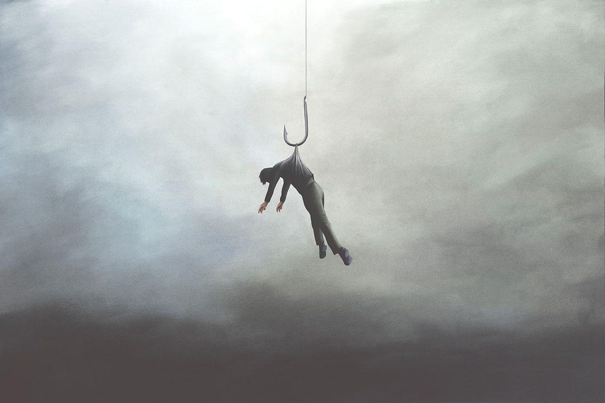 Lifeless Man Dangling on Hook