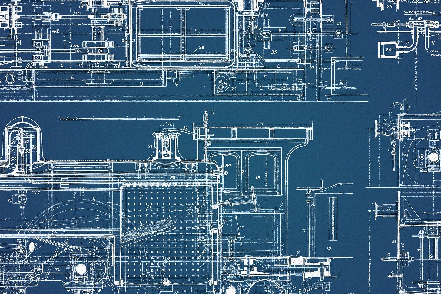 64 Vintage Mechanical Blueprints - Tom Chalky