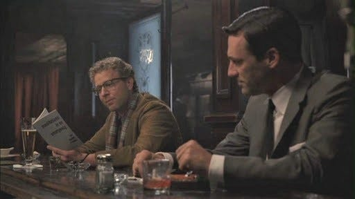 Don Draper sees a stranger reading Frank O'Hara's Meditations in an Emergency poetry collection in a bar on Mad Men
