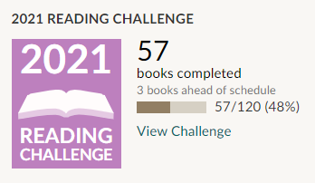 Screenshot of 2021 reading challenge statistics. 57 completed books out of 120 goal.