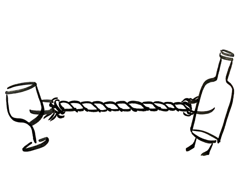 An anthropomorphic wine glass and bottle are pulling on opposite ends of the same rope