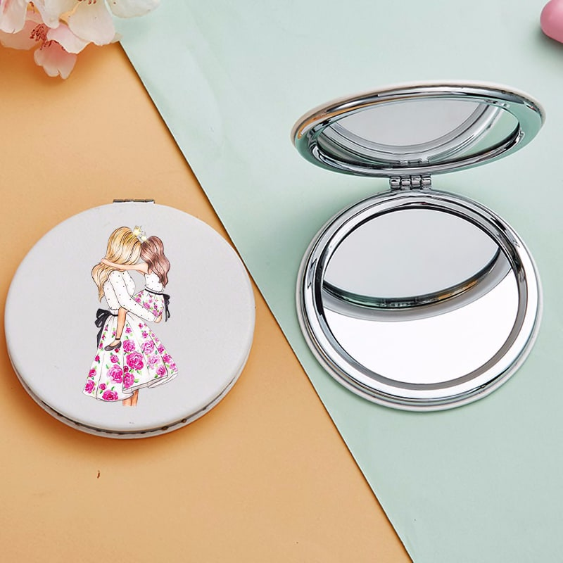 Cute Portable Makeup Mirrors with Double Sides for Girl Mom Magnifying Cosmetic Pocket Compact Vanity Mirror Lustro Do Makijazu