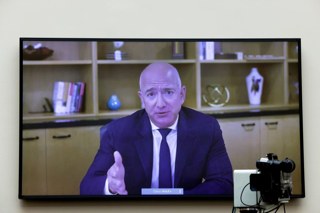 Amazon CEO Jeff Bezos testifies before Congress over video chat last July. Graeme Jennings / Getty Images
