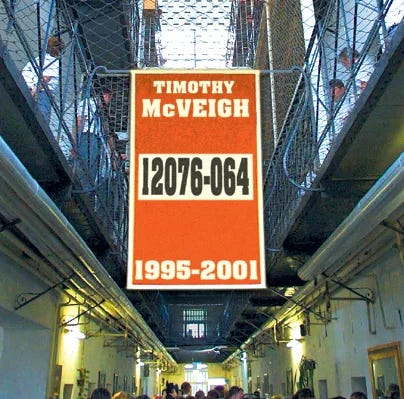 Image of a banner with Timothy McVeigh's name on it