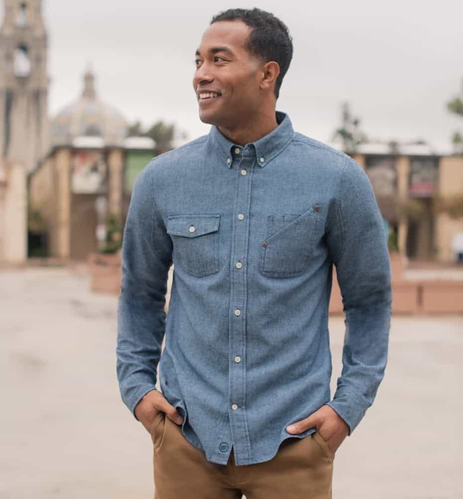man wearing united by blue recycled utility button down