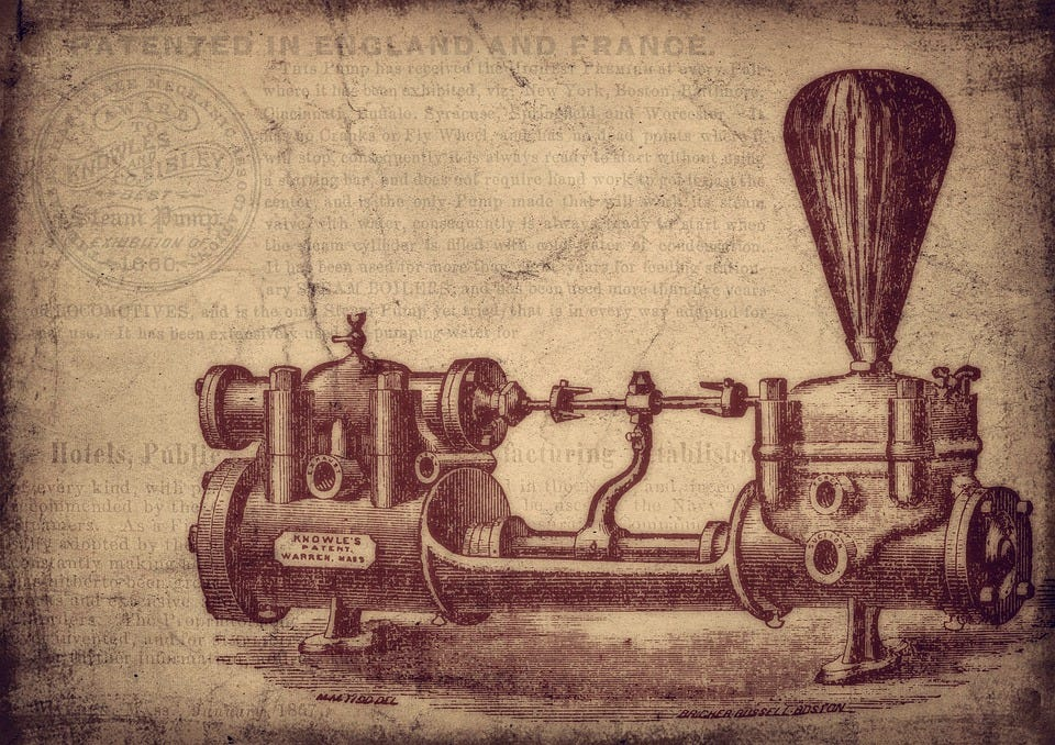 Vintage, Water Pump, Machine, Invention, Patent, Old