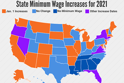 State Minimum Wage Increases for 2021 (Map) - HR Daily Advisor