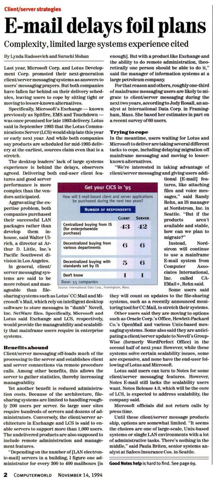 E-mail delays foil plans - headline from November 1994