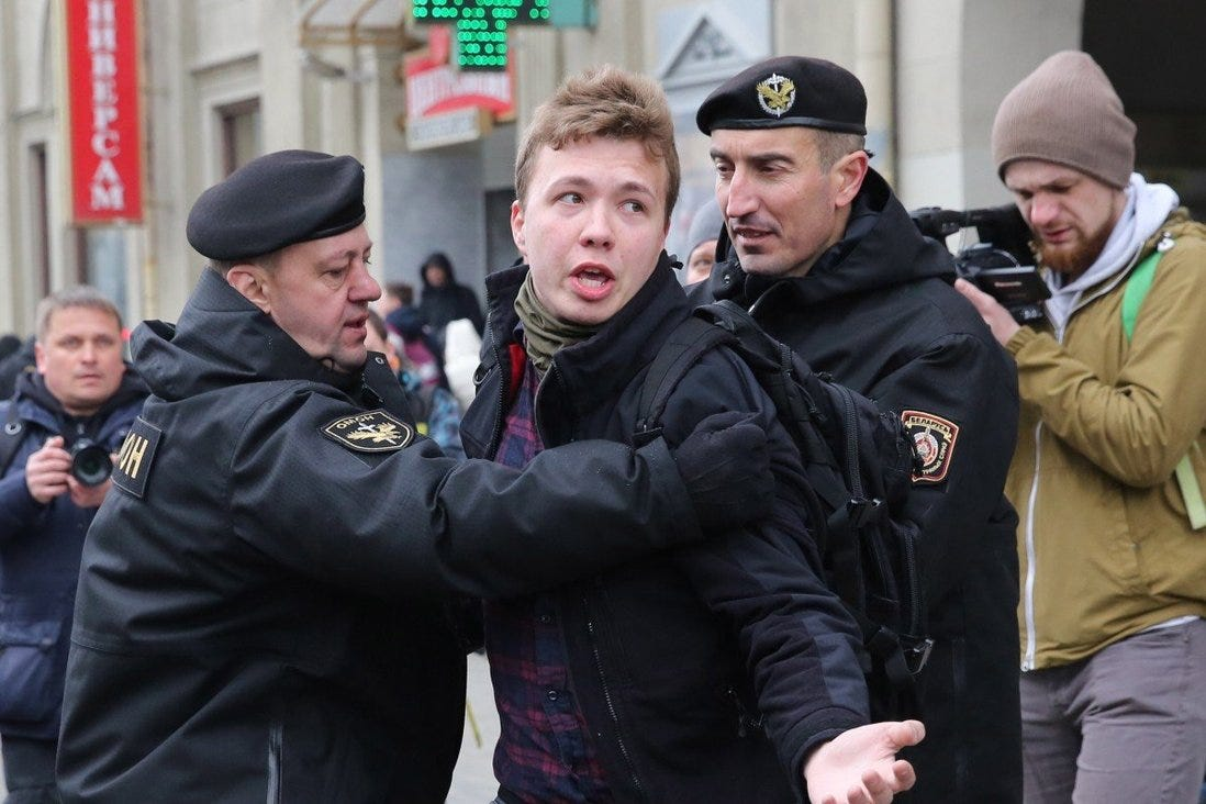Police officers detain journalist Roman Pratasevich attempting to cover a rally in Minsk, Belarus in 2017. Photo: EPA-EFE
