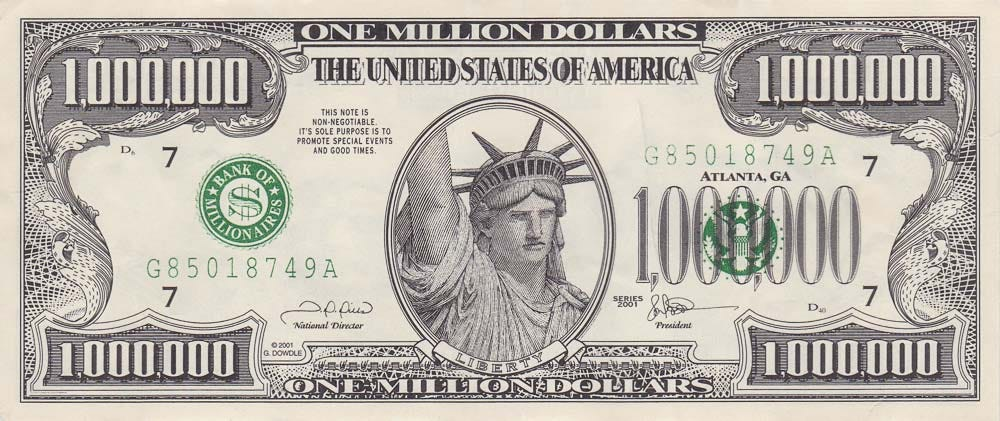 One Million Dollar bill - USA novelty banknotes - Leftover Currency