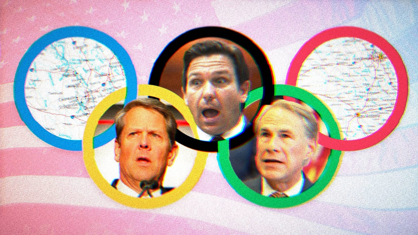Composite image of Brian Kemp, Ron DeSantis and George Abbot's faces inside the Olympic rings.
