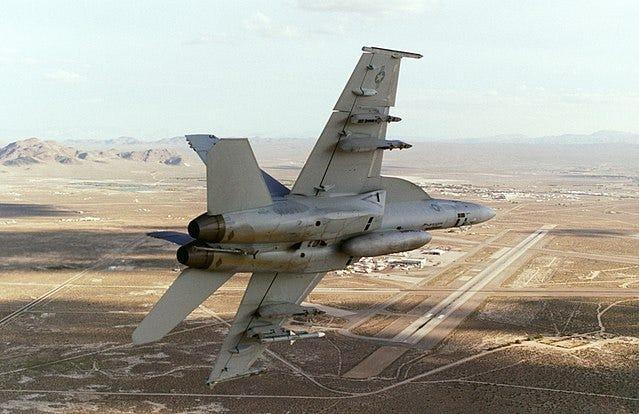 US Navy Hornet returning to base at China Lake, 2005