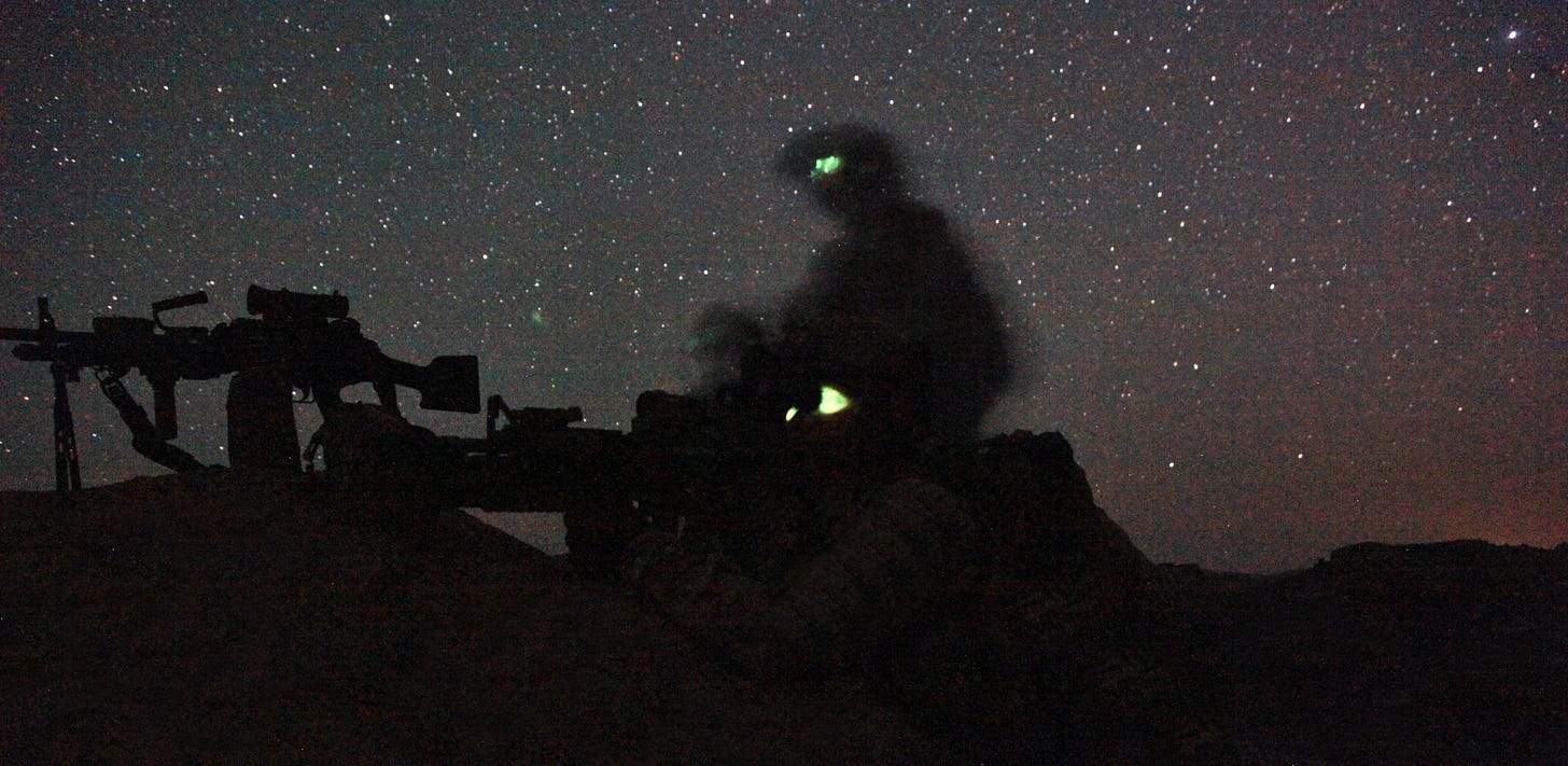 Afghan and coalition forces on a night patrol in Khost, 2013. Codie Mendenhall / US Army
