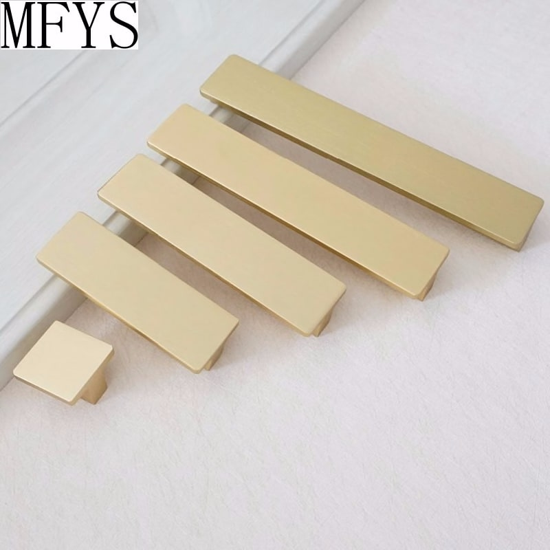 America Rectangle knobs Drawer Pulls Kitchen Cabinet Handles Brushed Brass