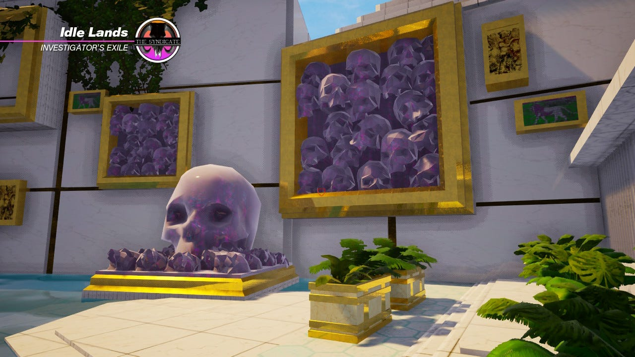 The Idle Lands in Paradise Killer. A large purple opal skull centrepiece is surrounded by smaller opals, and accompanied either side by framed clusters of opal skulls crammed together. It looks luxurious and artistic.