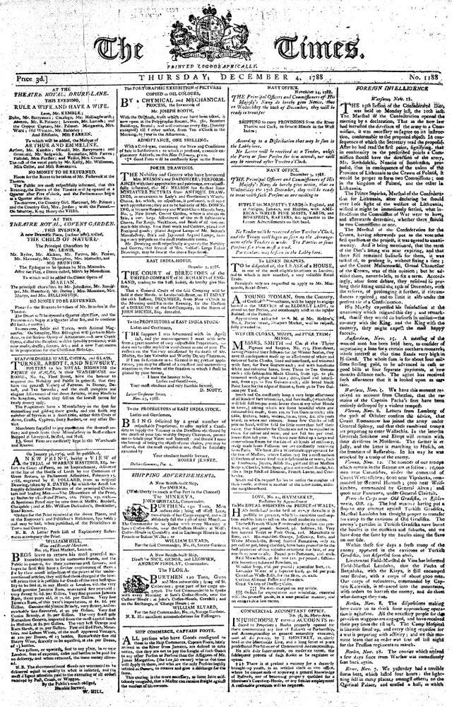 Front Page of The Times Newspaper 1788