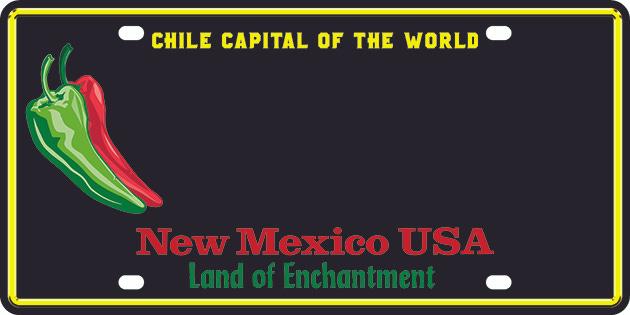Sample black chile NM license plate