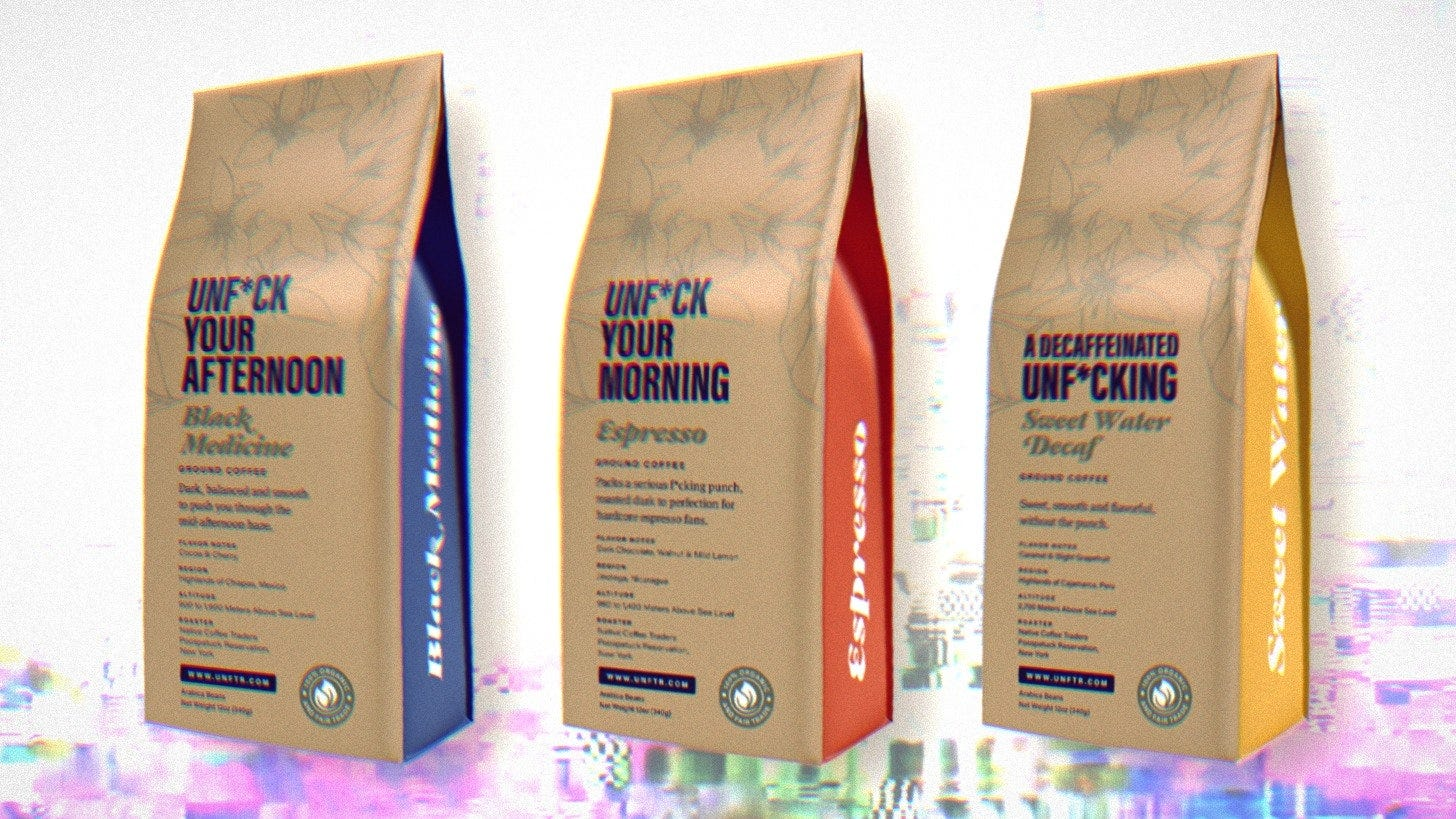 Unf*cking Coffee Bags lined up with a glitchy abstract image in the background