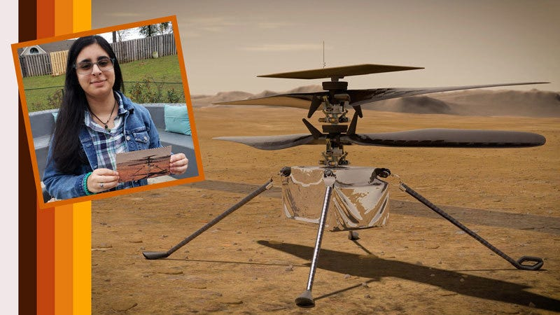 """Vaneeza Rupani (inset), a junior at Tuscaloosa County High School in Northport, Alabama, came up with the name Ingenuity for NASA's Mars Helicopter (an artist's impression of which is seen here) and the motivation behind it during NASA's """"Name the Rover"""" essay contest."""